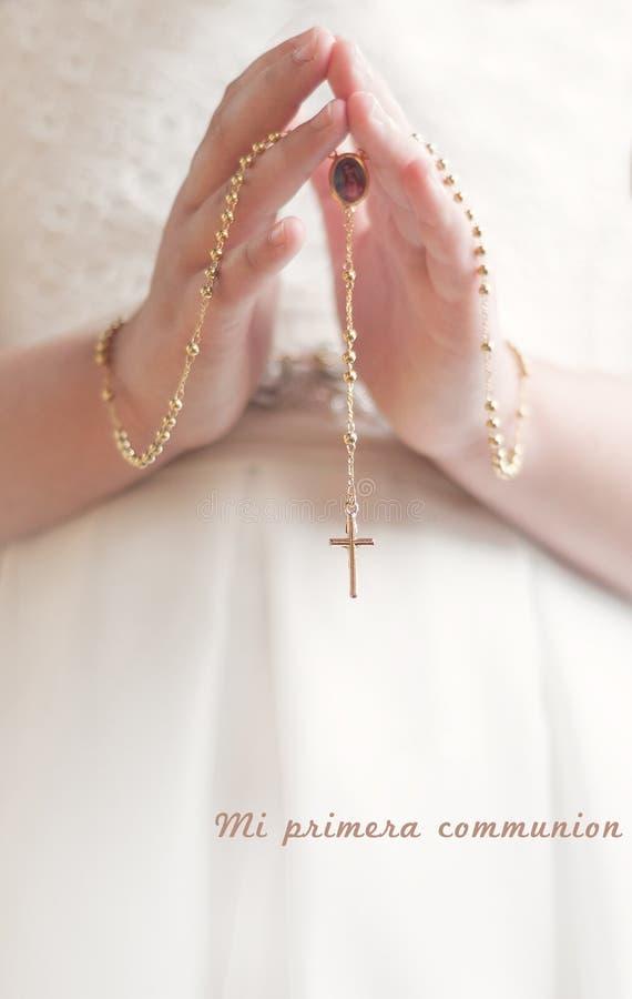 Erste heilige Kommunion stockfotos
