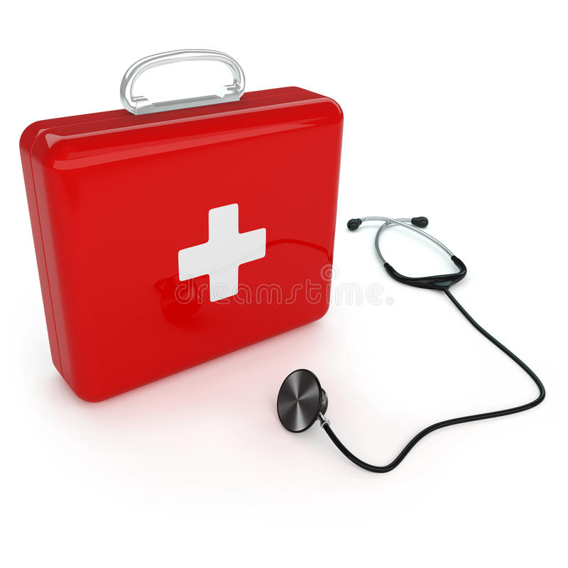 Erste-Hilfe-Ausrüstung und Stethoskop stock abbildung