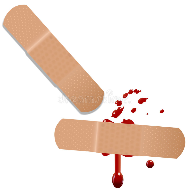 Erste HILFEen-Hilfen-Bandaid Blut stock abbildung