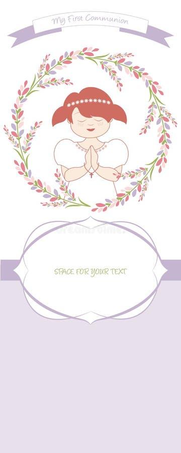 Erste Kommunionsfeieranzeige Nettes Mädchen, das ein weißes Kleid, umgeben durch Blumenkranz trägt stock abbildung