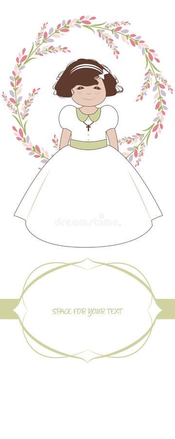 Erste Kommunionsfeieranzeige Nettes Mädchen, das ein weißes Kleid, umgeben durch Blumenkranz trägt lizenzfreie abbildung