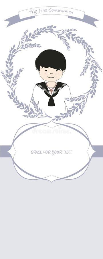 Erste Kommunionsfeieranzeige Tragender Kommunionsanzug des netten Jungen umgeben durch Blumenkranz vektor abbildung