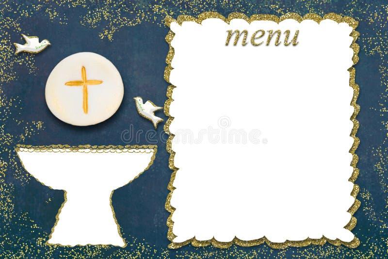 Erste Men?karte der heiligen Kommunion lizenzfreies stockbild