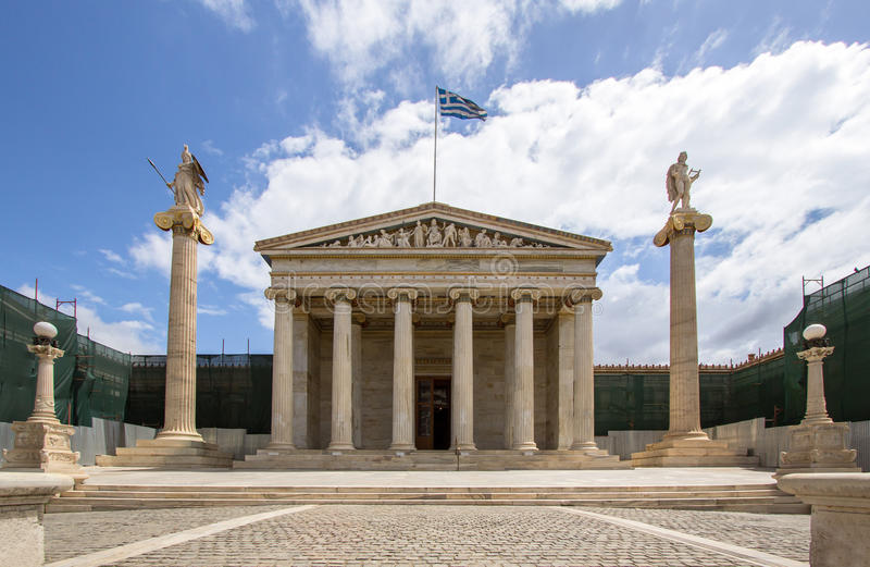 Erste nationale Akademie in Athen lizenzfreie stockfotografie