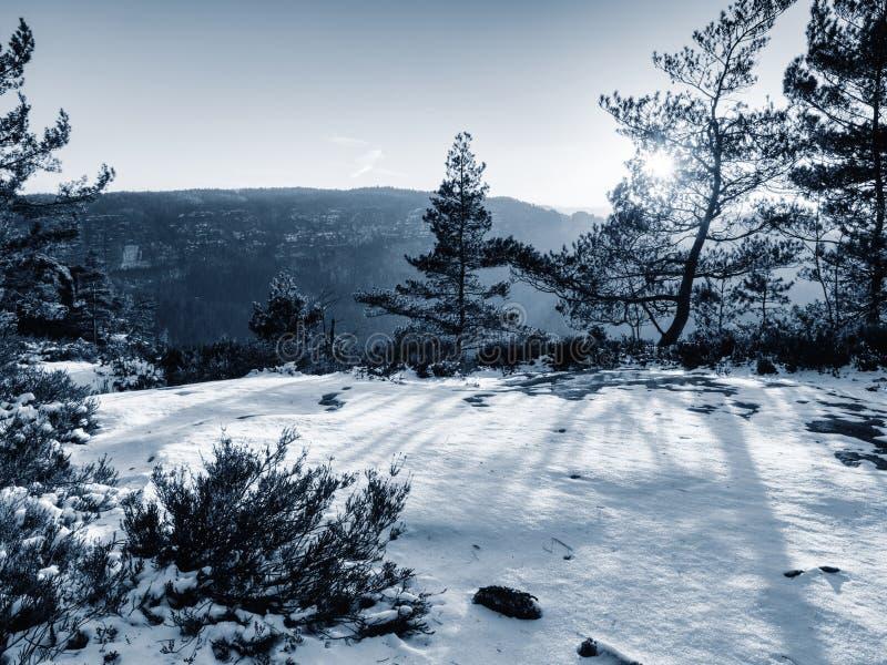 Erste Schneedeckefelsen über Talpark Schwerer Nebel im Tal stockbild