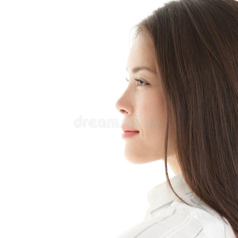 Erstellen Sie Frau ein Profil stockfotografie