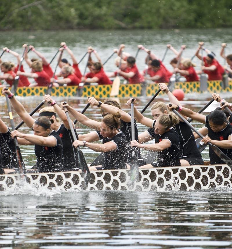 Erster Dragon Boat der kanadischen nationalen Frauen stockbilder