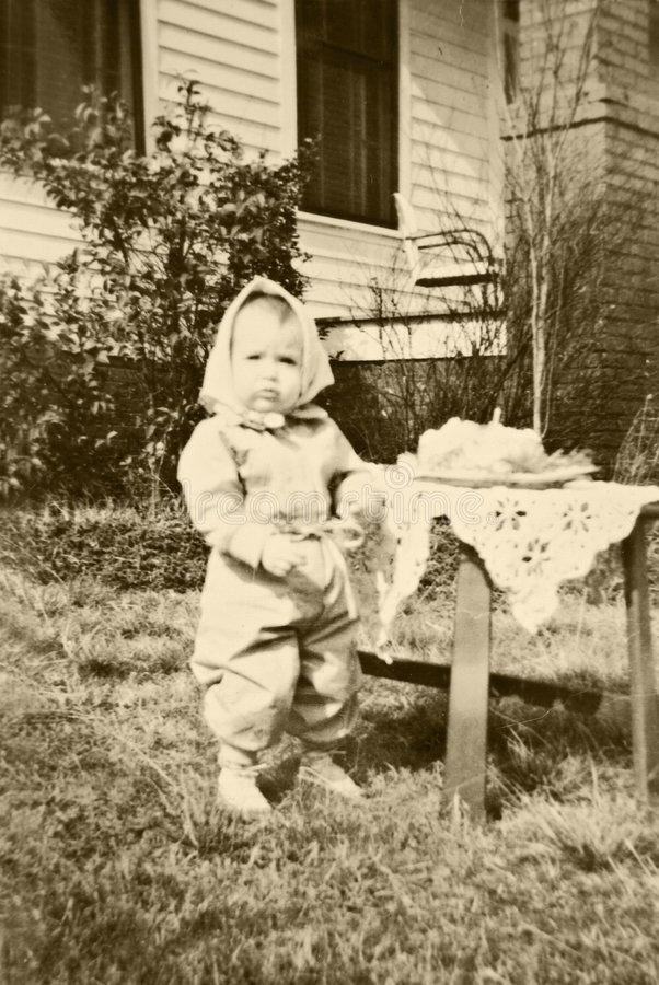 Erster Geburtstag des Retro/Kindes stockfotografie