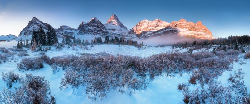 Erster Schnee Berg Assiniboine, alias Assiniboine-Berg, ist ein Pyramidenhöchstberg, der auf der großen Verteilung gelegen ist stockbild
