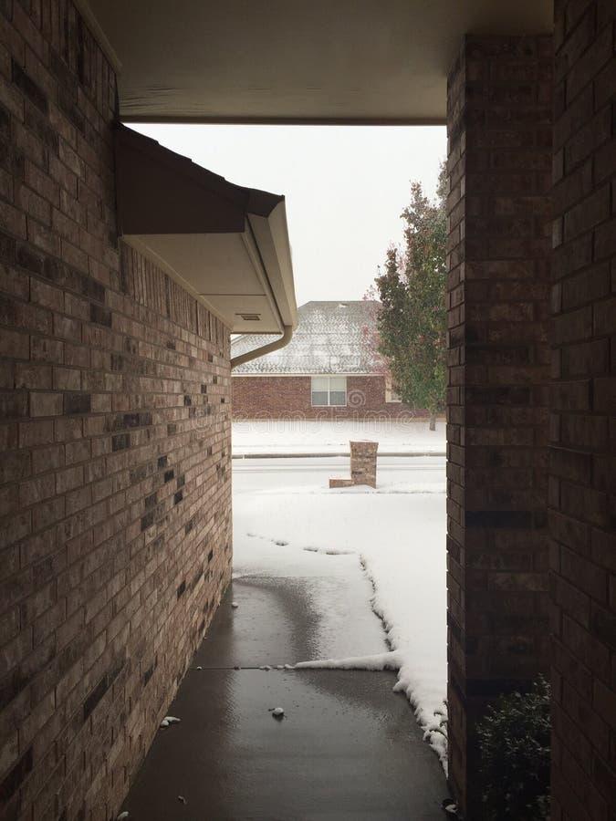 Erster Schnee in Moore lizenzfreie stockbilder