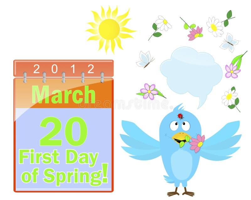 Erster Tag des Frühlinges. Kalender und blauer Vogel. stock abbildung