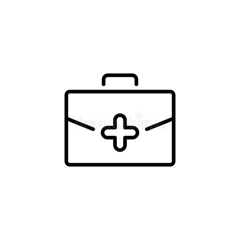 Erstklassige Ausrüstungsikone oder -logo der ersten Hilfe in der Linie Art vektor abbildung