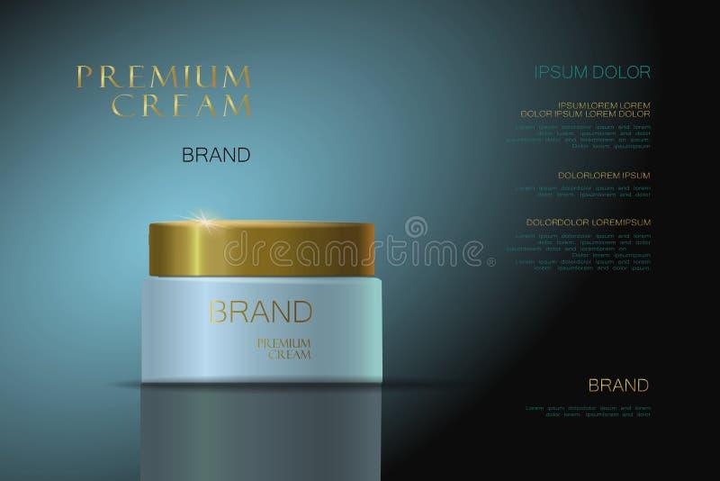Erstklassige Creme blaue Goldverpackung für Kosmetik Zutreffen des transparenten Lacks stock abbildung