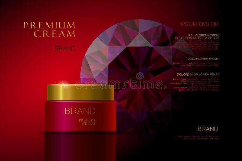 Erstklassige Creme Rote Verpackung für Kosmetik Zutreffen des transparenten Lacks lizenzfreie abbildung