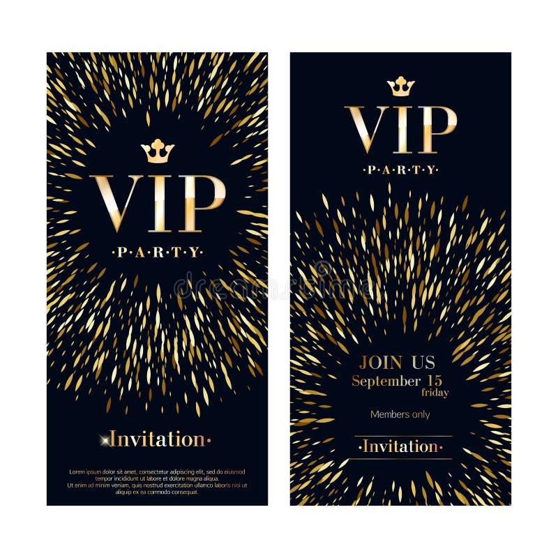 Erstklassige Designschablonen der Promi-Einladungskarte eingestellt stock abbildung