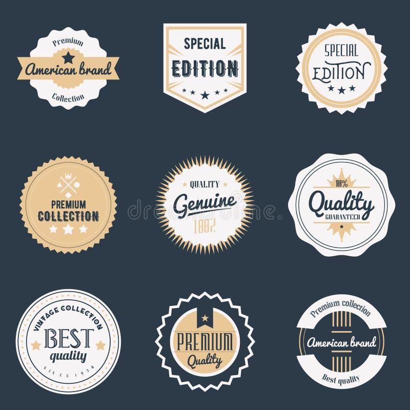 Erstklassige Gütezeichen eingestellt Brennt Gestaltungselemente, Embleme, Logo, Ausweise und Aufkleber ein Auch im corel abgehobe lizenzfreie abbildung