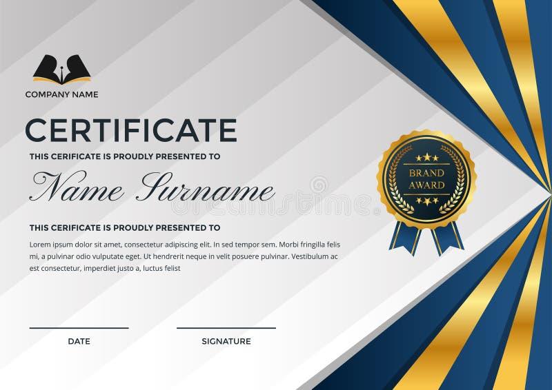 Erstklassige Geschäfts-Zertifikat-Schablone mit Bildungs-Symbol stock abbildung