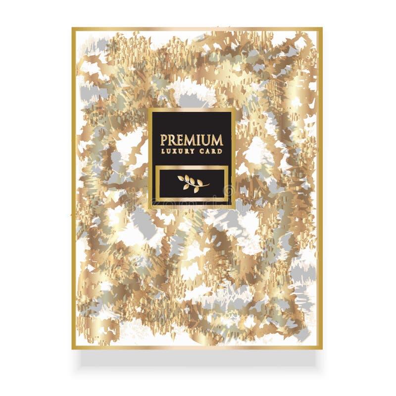 Erstklassige goldene Schablonenluxuseinladung, Karten und anderes desig stock abbildung