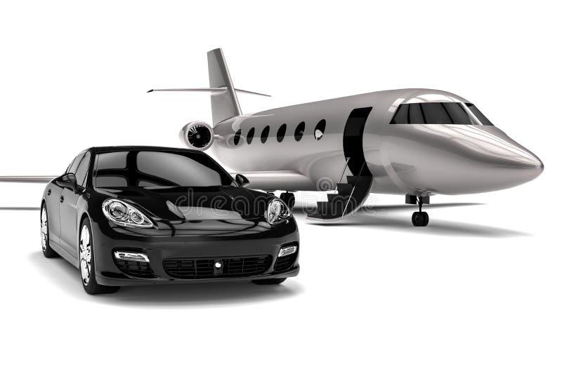 Erstklassige Limousine mit Privatjet vektor abbildung