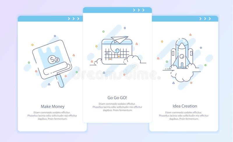 Erstklassige Qualitäts-Linie Ikone und Konzept eingestellt: Prozess, beginnen oben Reise, Rocket, verdienen Geld vektor abbildung