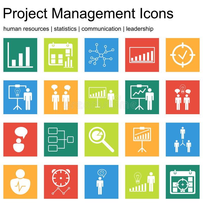 Erstklassige Qualitätsikonensätze Projektleiter, Personalwesen, Kommunikation und Statistikikonen Moderne Netzsymbolsammlung vektor abbildung