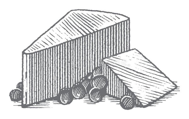 Erstklassige Vektor-Holzschnitt-Käse-Illustration stockbilder