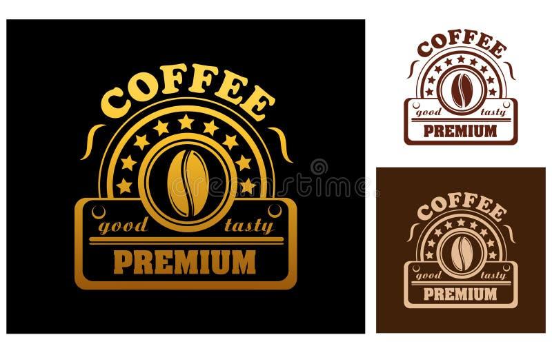 Erstklassiger Kaffeeaufkleber oder -ausweis vektor abbildung