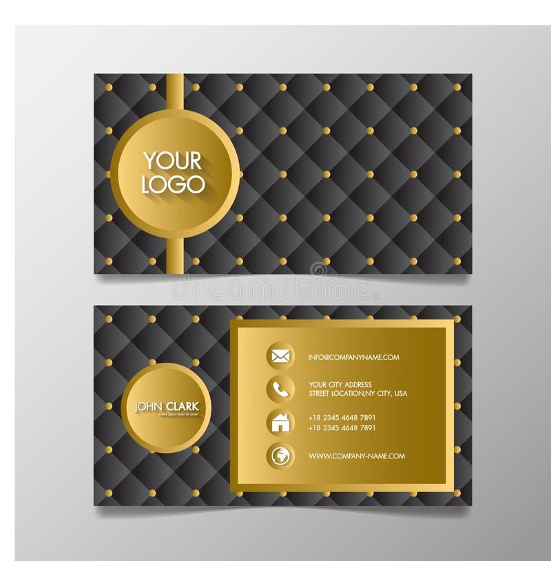 Erstklassiger Luxus und elegantes Goldschwarze Namenkarte und -Visitenkarte mit kreativem Entwurf auf schwarzem Hintergrundstanda lizenzfreie abbildung