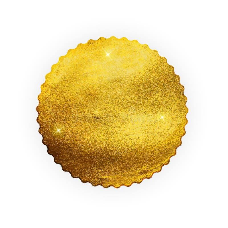 Erstklassiger Qualitäts-glänzender goldener Aufkleber-Luxusausweis-Zeichen auf weißem Hintergrund Kann als beste Wahl, Preis, Gre lizenzfreie abbildung