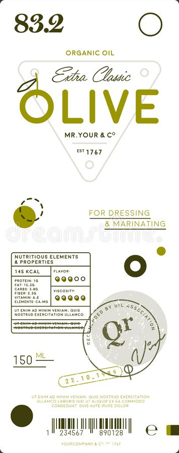 Erstklassiger reiner Olivenölextraaufkleber stock abbildung
