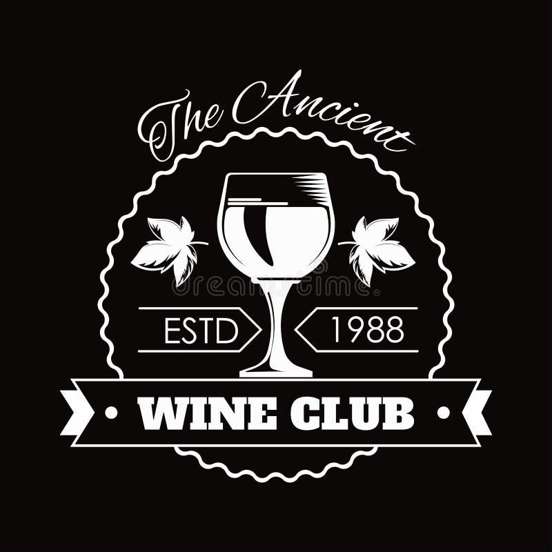 Erstklassiger Weinclub lokalisierte flache Vektorillustration des einfarbigen Emblems auf weißem Hintergrund lizenzfreie abbildung