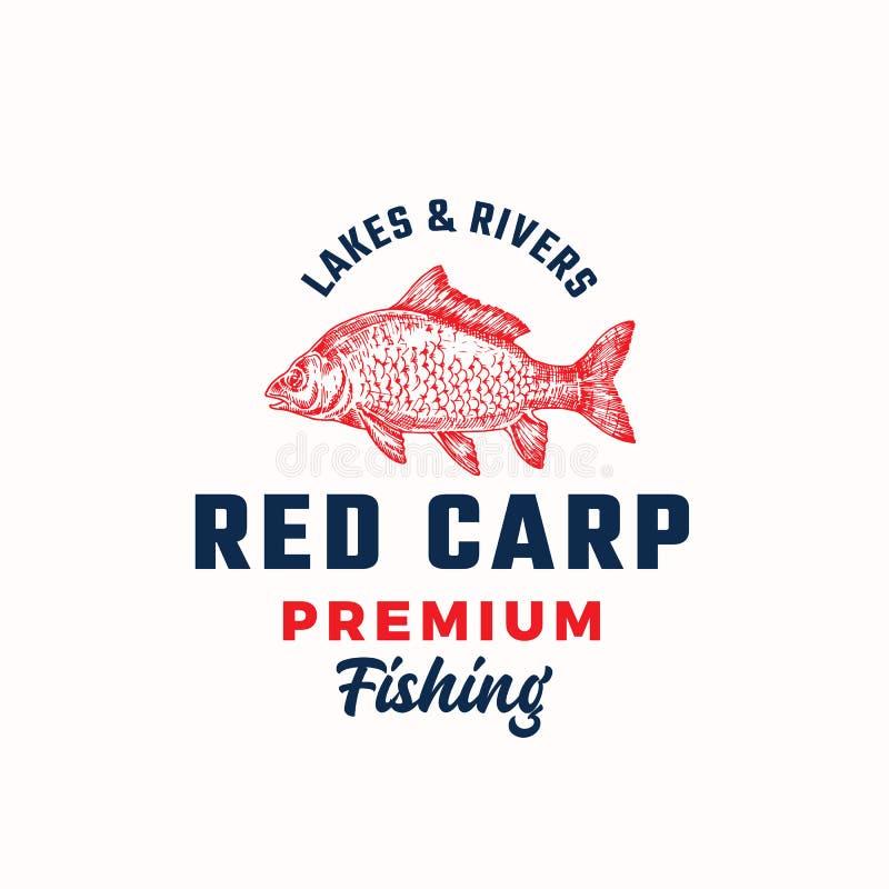 Erstklassiges fischendes abstraktes Vektor-Zeichen, Symbol oder Logo Template Handgezogene rote Karpfen-Fische mit nobler Retro-  vektor abbildung