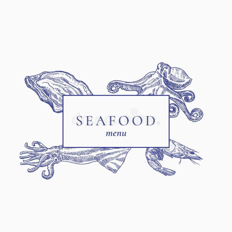 Erstklassiges Qualitäts-Meeresfrüchte-Menü-Zusammenfassungs-Vektor-Zeichen, Emblem oder Deckblatt Hand gezeichnete Auster, Krake, stock abbildung