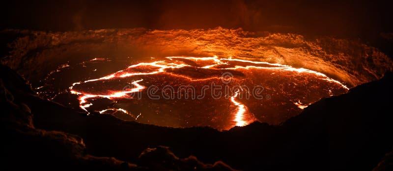 Erta Ale volcano crater, melting lava, Danakil depression, Ethiopia royalty free stock photography