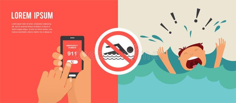 Ertrinken des Mannes, der für Hilfe schreit Handpressenotrufnummer 911 an einem Handy lizenzfreie abbildung