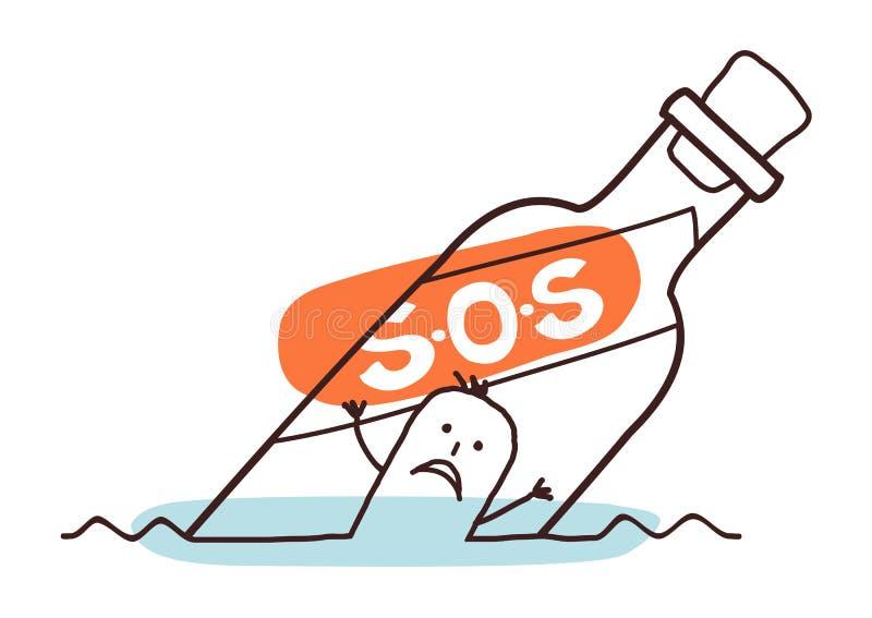Ertrinken des Mannes in einem S O S-Flasche stock abbildung