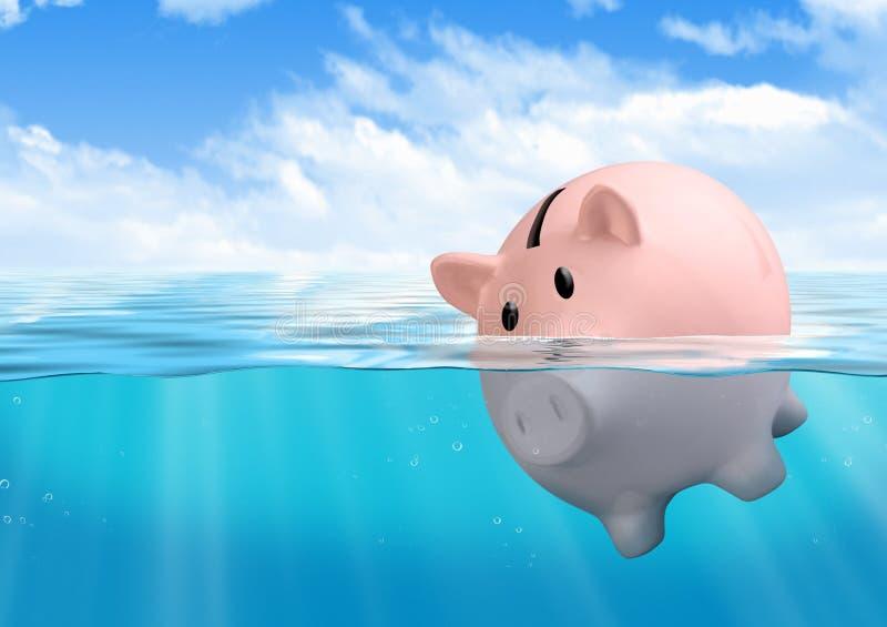 Ertrinkendes Sparschwein, Spareinlagenverlustkonzept lizenzfreie stockfotos