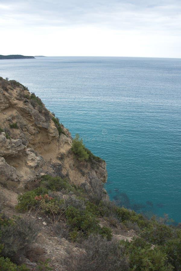 Ertsader op Thassos in de Middellandse Zee royalty-vrije stock afbeeldingen