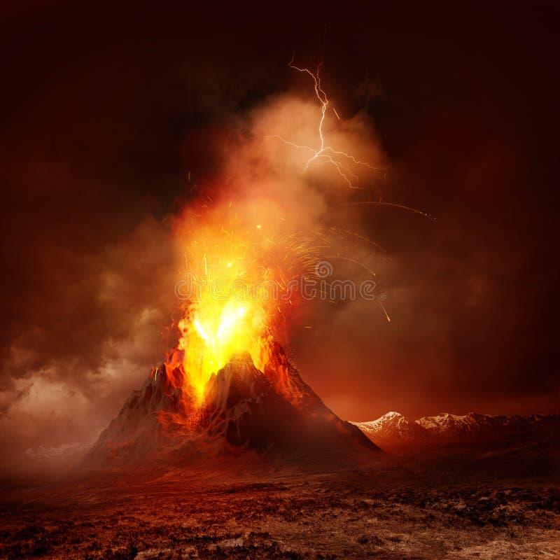 Erupção do vulcão fotos de stock