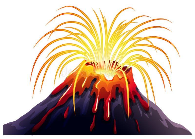 Erupção do vulcão com lava quente ilustração royalty free