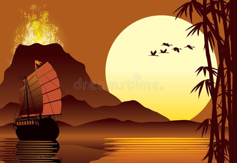 Erupção vulcânica ilustração royalty free