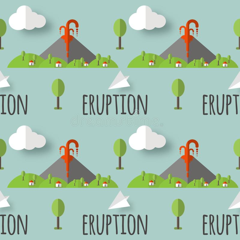 Erupção vulcânica do teste padrão sem emenda do vetor Fumo e lava da cratera, da vila e das árvores no pé Usado para cartão, ilustração royalty free