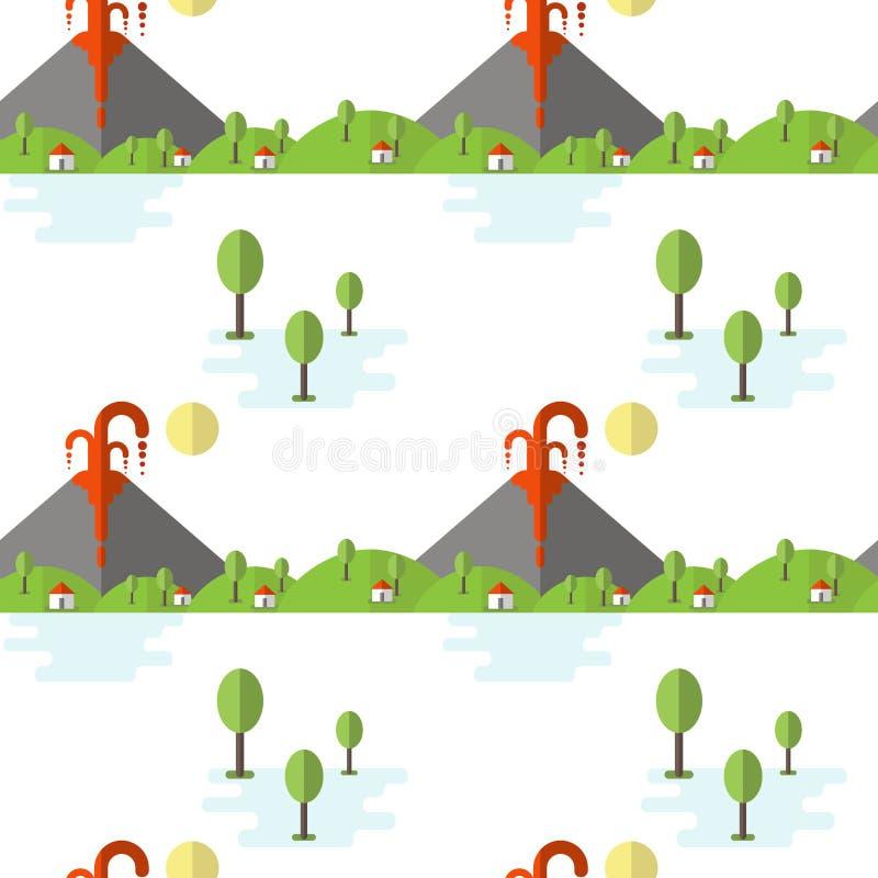 Erupção vulcânica do teste padrão sem emenda do vetor Fumo e lava da cratera, da vila e das árvores no pé Usado para cartão, ilustração stock