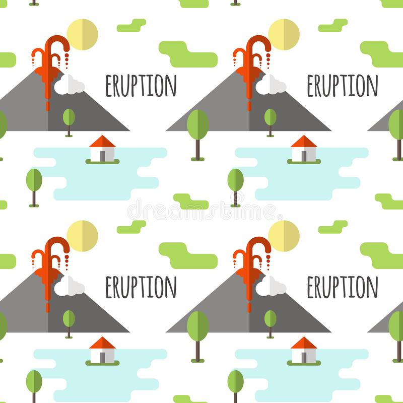 Erupção vulcânica do teste padrão sem emenda do vetor Fumo e lava da cratera, da vila e das árvores no pé Usado para cartão, ilustração do vetor