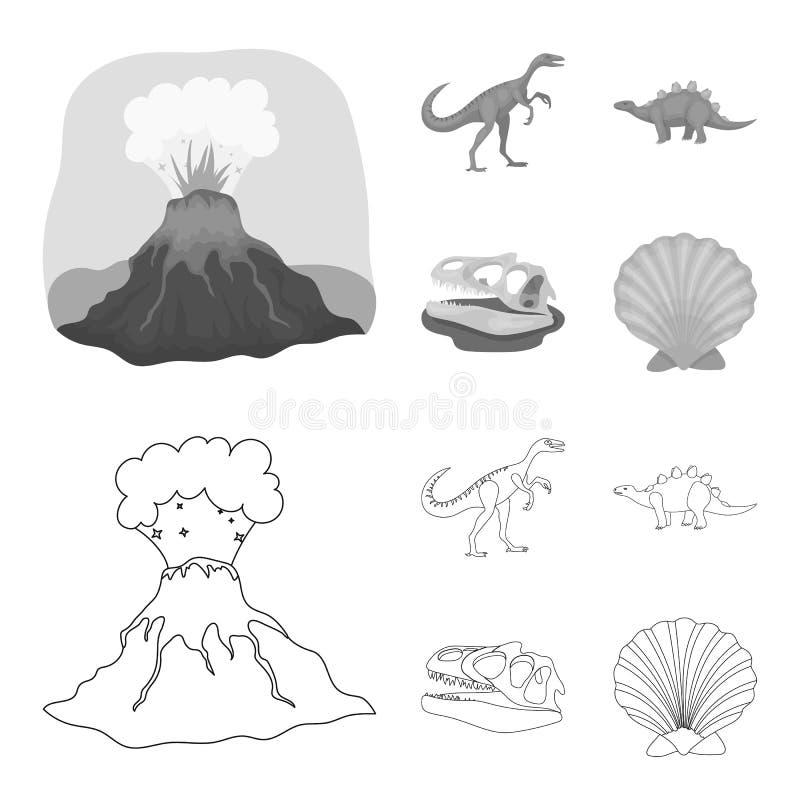 Erupção vulcânica, gallimimus, stegosaurus, crânio do dinossauro Dinossauro e ícones ajustados da coleção do período pré-históric ilustração royalty free