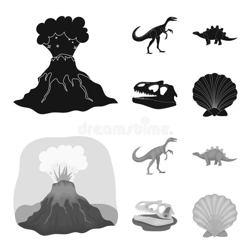 Erupção vulcânica, gallimimus, stegosaurus, crânio do dinossauro Dinossauro e ícones ajustados da coleção do período pré-históric ilustração stock