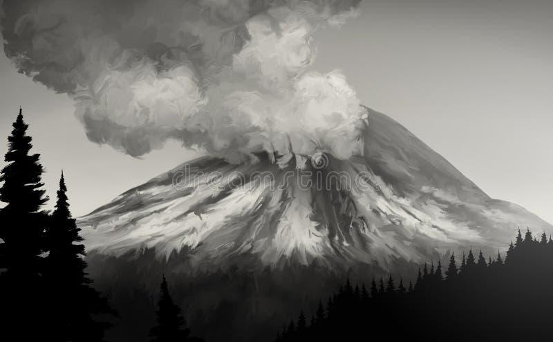 Erupción del St. Helens del Mt. stock de ilustración