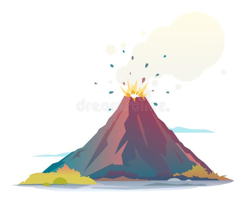 Erupción del volcán ilustración del vector