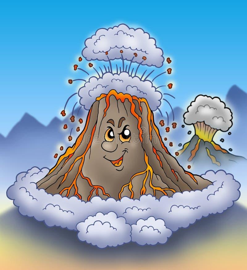 Erupción del volcán de la historieta libre illustration