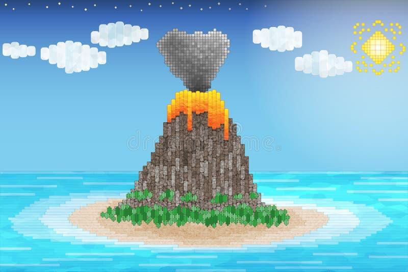 Erupción del volcán en el océano ilustración del vector